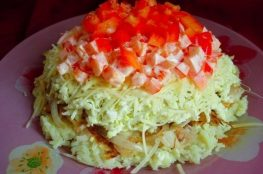 Быстрый слоёный салат