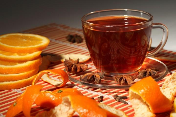 Согревающий чай с цитрусовыми корочками