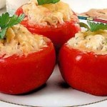 Tomatoes stuffed with rice and shrimp