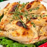 Tobacco Chicken, baked with cream Philadelphia, garlic, pepper and thyme