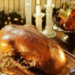 Goose stuffed with apples and prunes