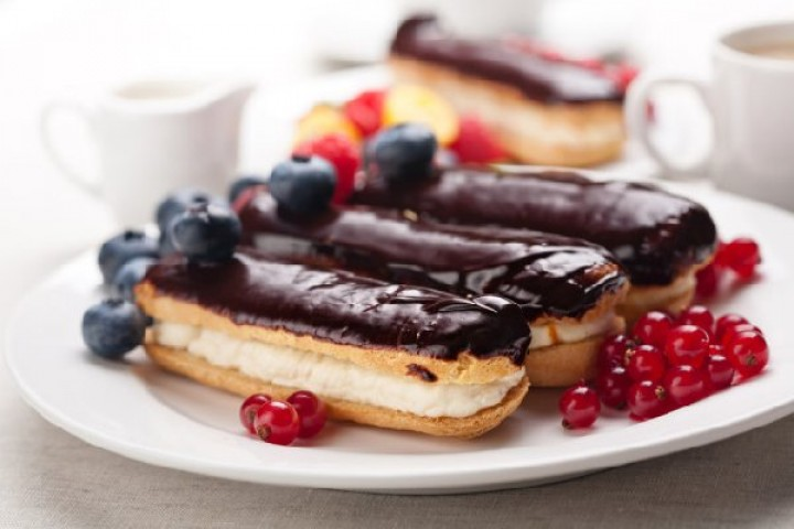 Eclairs with custard with chocolate