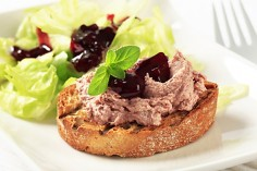 Chicken liver parfait with cranberry sauce