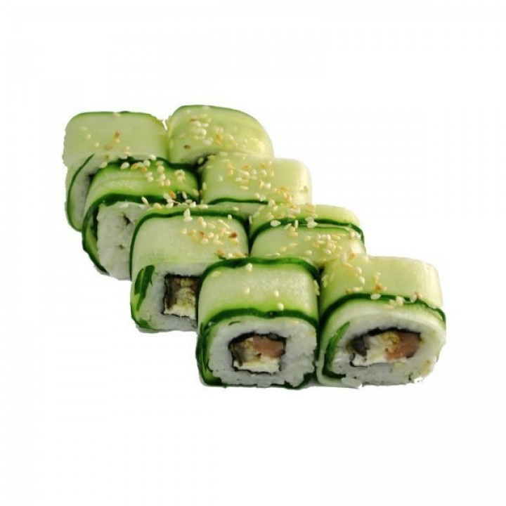 Rolls of cucumber with shrimp, cream cheese and salmon